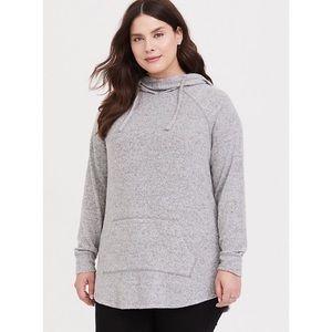 Torrid Gray Heathered Cowl neck sweater hoodie 3X